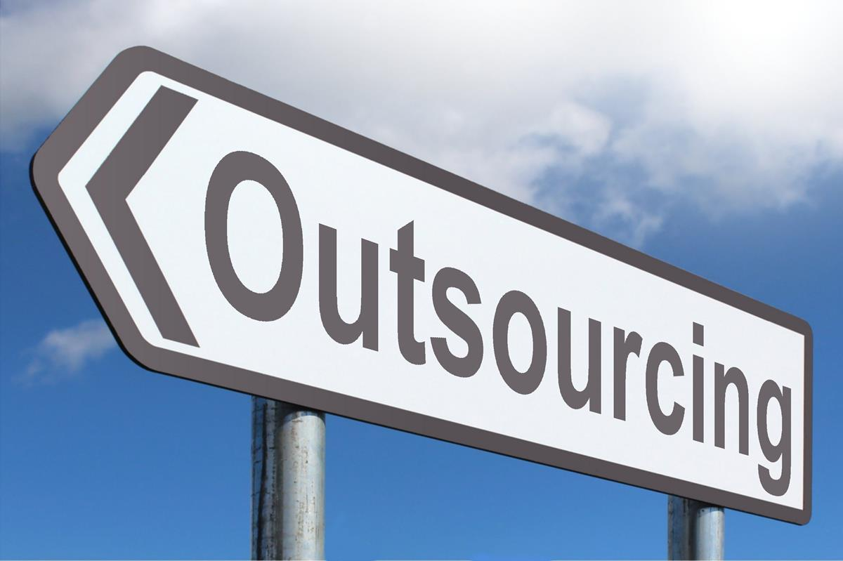 Sign board of outsourcing